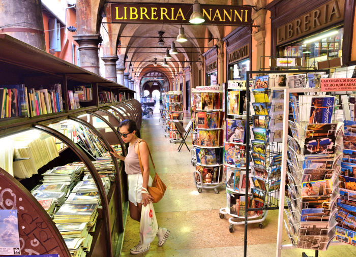 open-air bookstore bologna italy