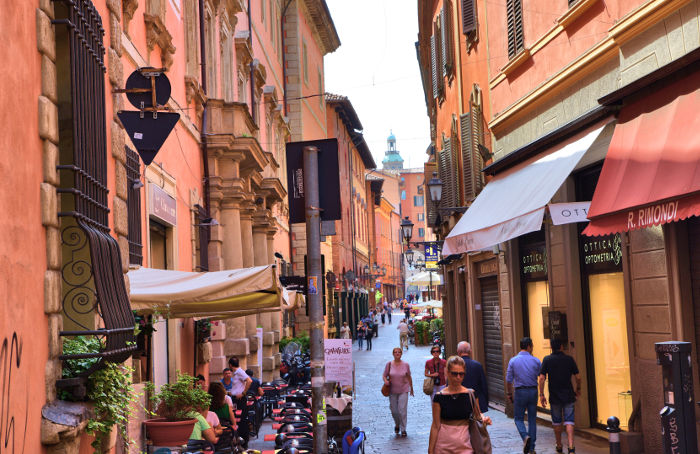 Bologna old town street italy