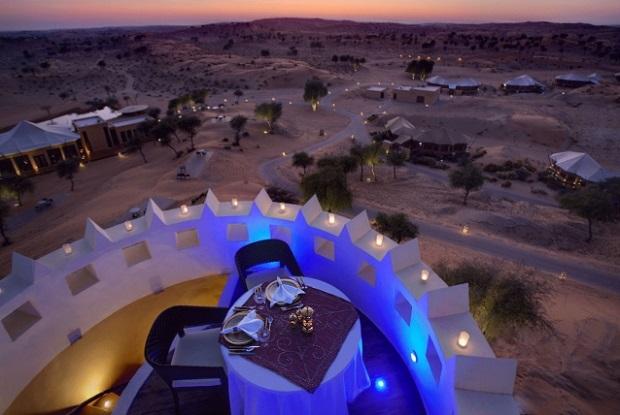 Dine overlooking the resort below. Photo: Banyan Tree Al Wadi, Banyan Tree Hotels & Resorts