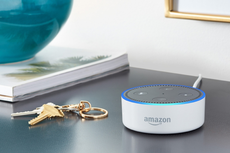 Amazon Echo Dot on a table with keys
