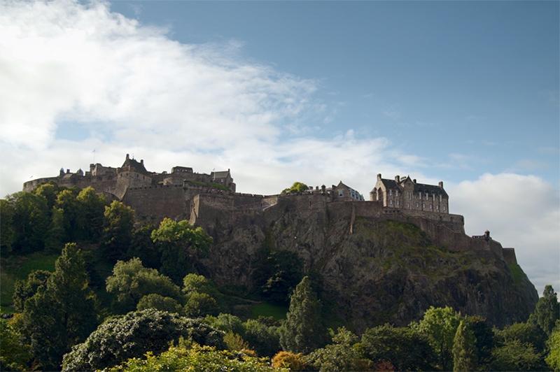 A view up to Edinburgh Castle.