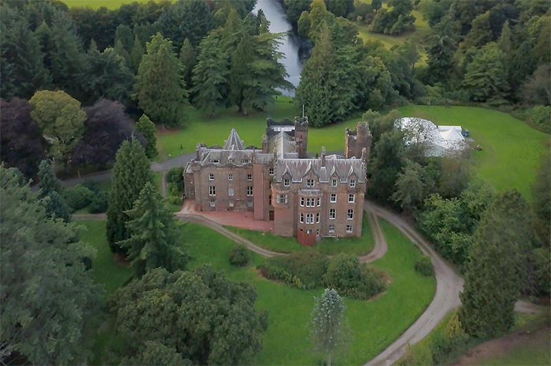 An aerial view of Friars Carse hotel in Scotland.
