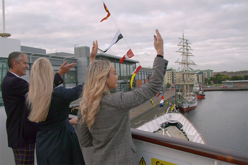 People standing on Royal Yacht Britannia