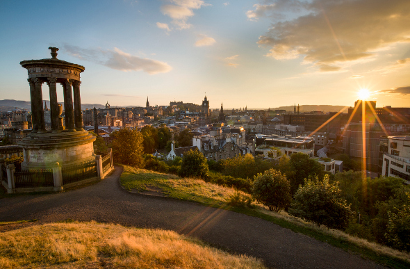 A view of Edinburgh's cityscape from Calton Hill