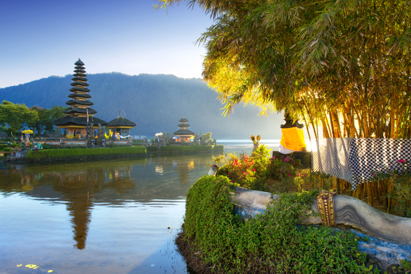A lakeside temple in Bali.