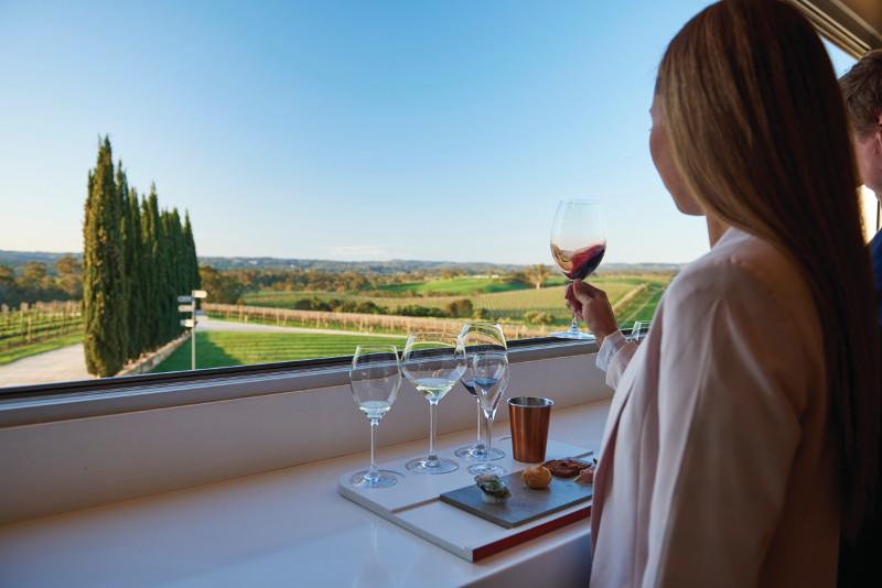 Couple wine tasting in South Australia.
