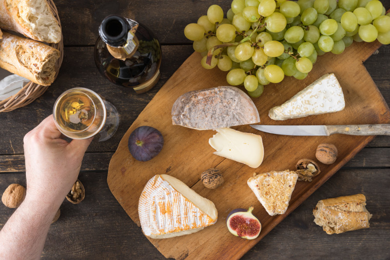 Wine and cheese platter.