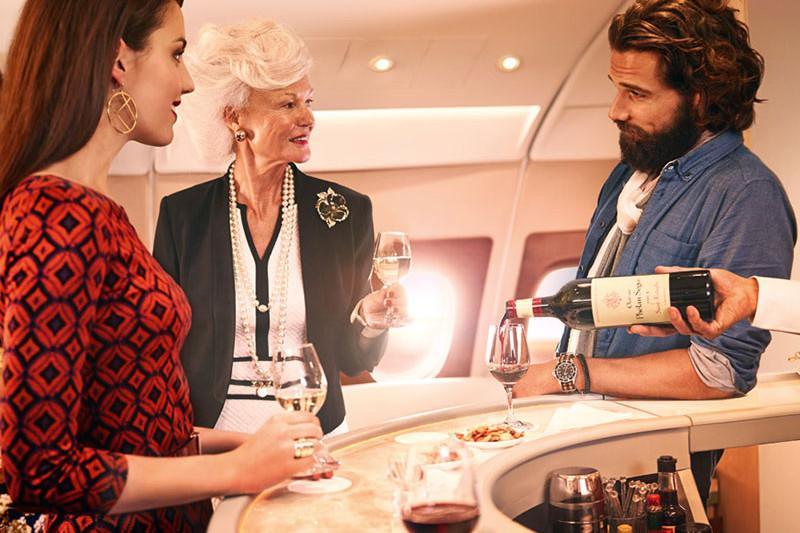 Emirates business class standup bar