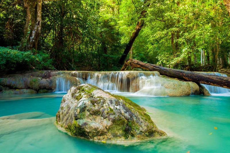 Erawan waterfall in Thailand.