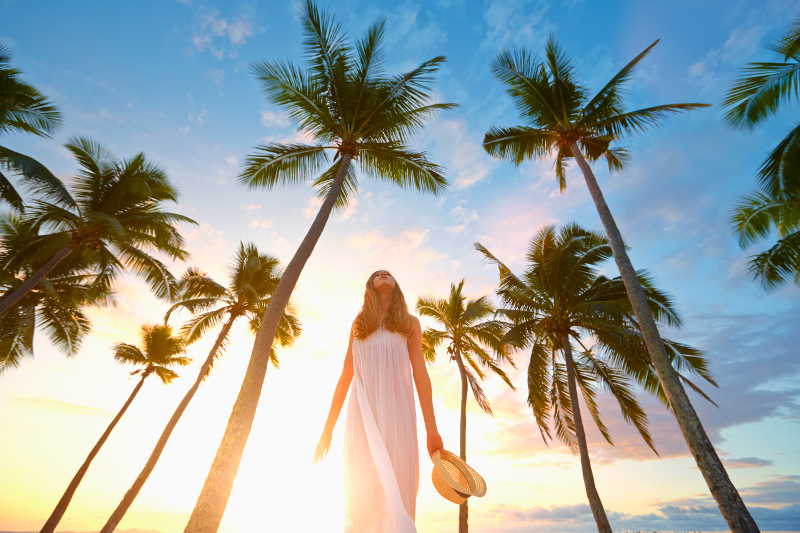 Woman on beach at Fiji.
