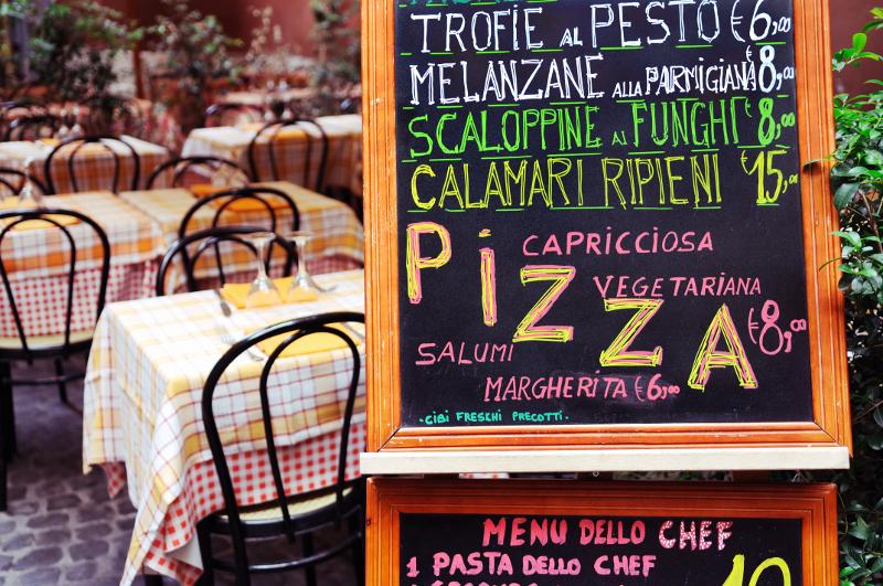 Italy food menu