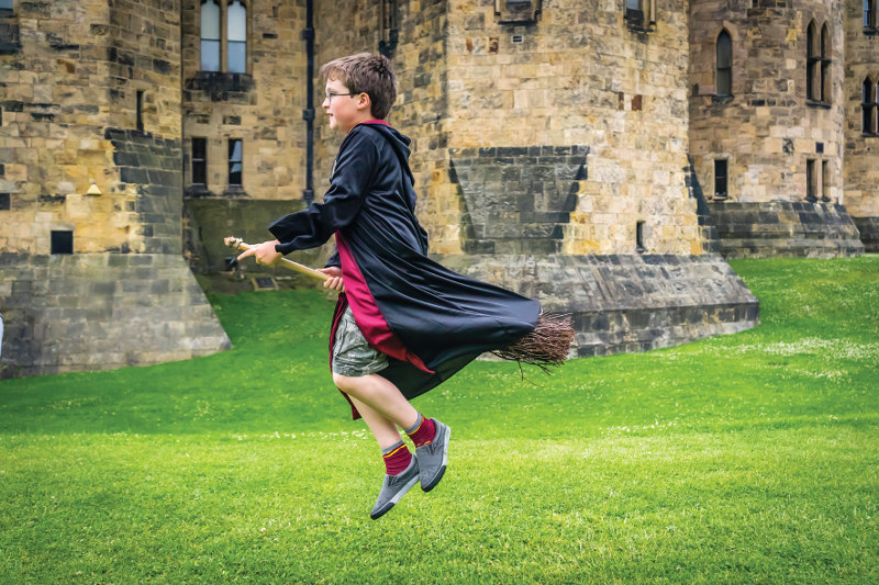 Boy on broomstick ride, Alnwick Castle