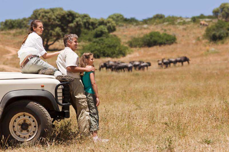 Family on African safari.