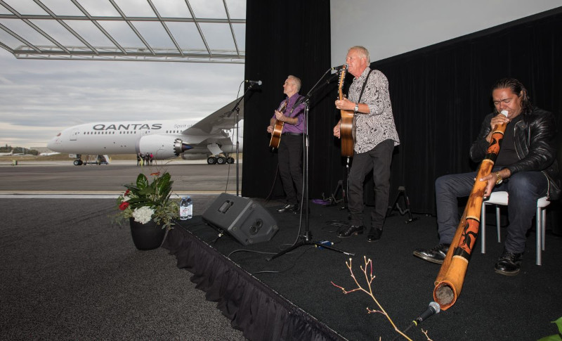 Ice House perform at Qantas Dreamliner debut