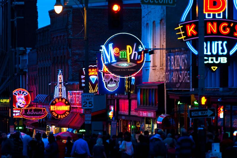 Neon signs in Memphis.