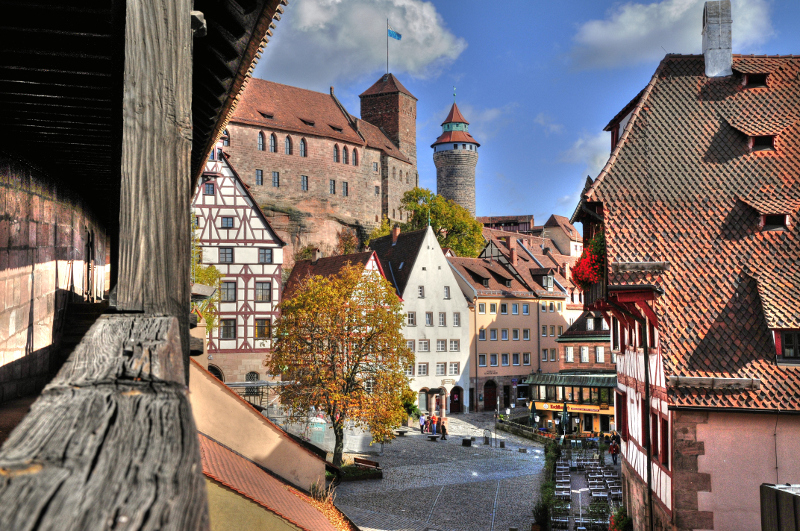 Old town of Nuremberg and castle.
