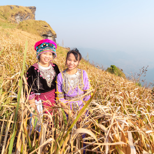 Hmong tribe girls in Chiang Mai.