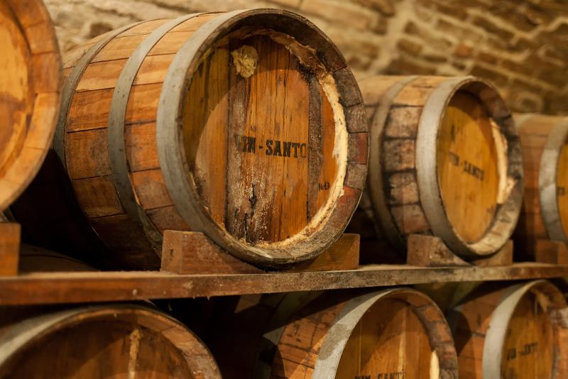 Barrels of wine in Montepulciano, Tuscany.