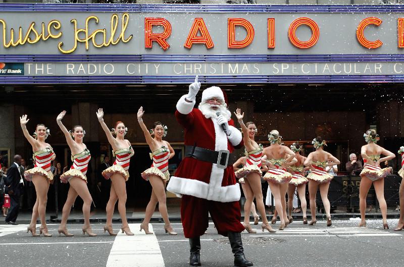 Santa in winter in NYC.