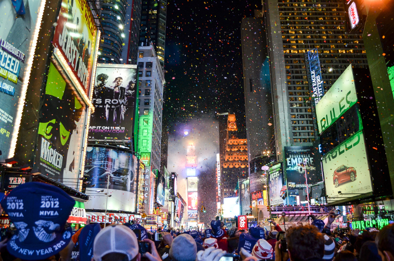 New Year's Eve in Times Square in NYC.