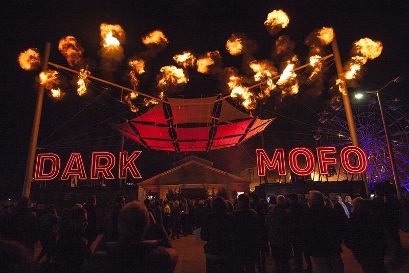 A neon sign at the entrance to Dark Mofo festival in Hobart.