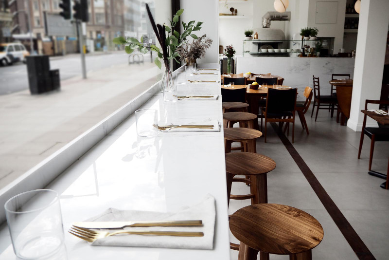 'Over restaurant interior, London.