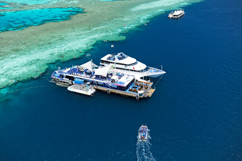 A cruise boat docking at Reefworld, on the outer reef in Queensland's Whitsundays.