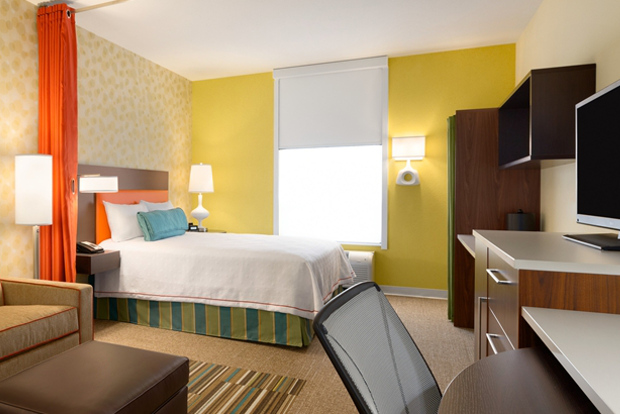 The cheery rooms at the Home2 Suites by Hilton West Edmonton, Canada.