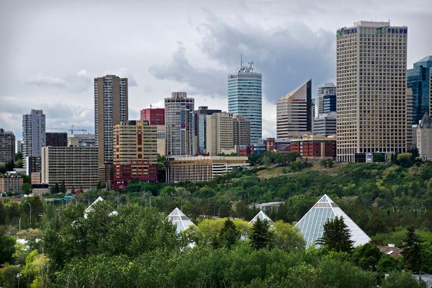 The Edmonton city skyline.