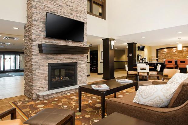 The lobby of the Staybridge Suites West Edmonton, Canada.