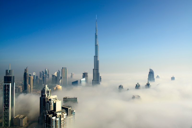 Fog shrouds the city of Dubai.