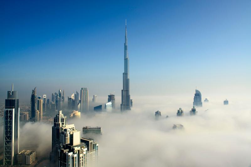 Fog shrouds the city of Dubai.