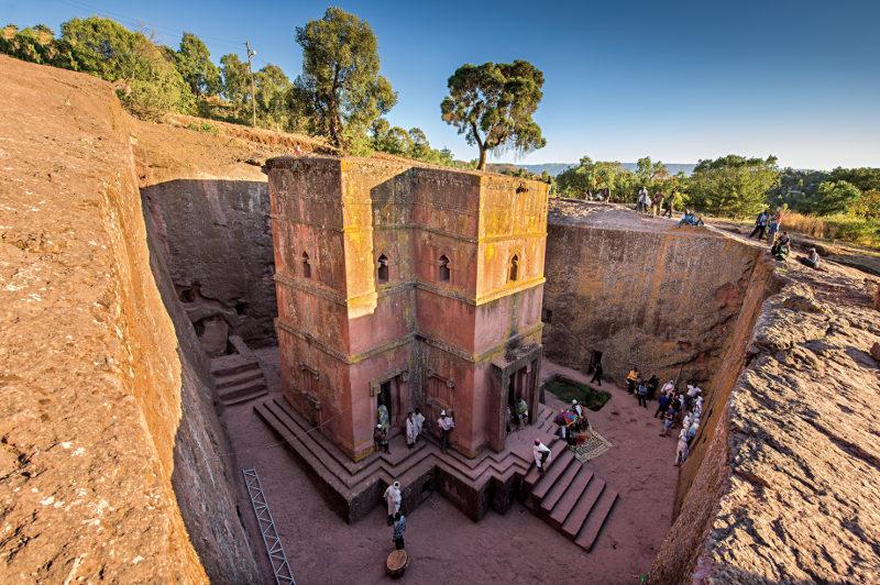 A church cut into rock in the Ethiopian town of Lalibela.