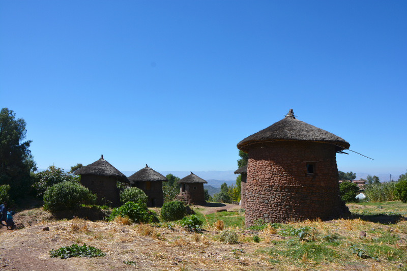Tukels - the traditional Ethiopian round house - dot a hillside.