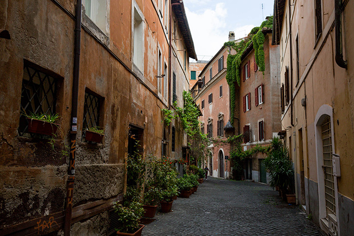 The streets of Trastevere in Rome