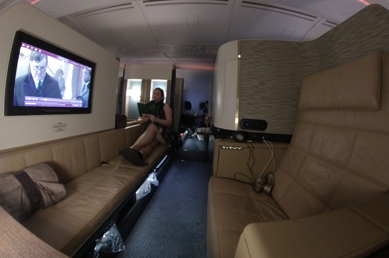 360-degree view of woman in First Class on EY A380