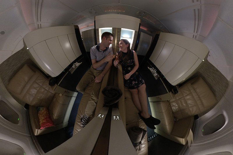 Couple in adjoining First Apartments on Etihad Airways A380.
