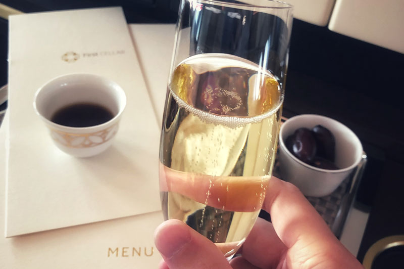 Champagne and snacks in first class cabin