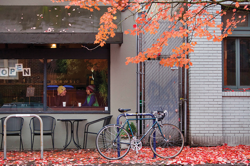 Bike on street in fall, Portland