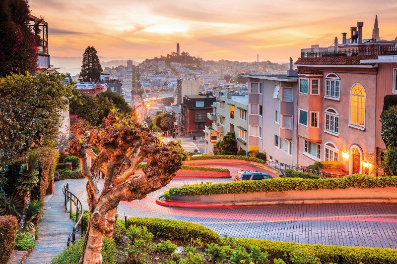 Lombard Street in San Francisco at sunset