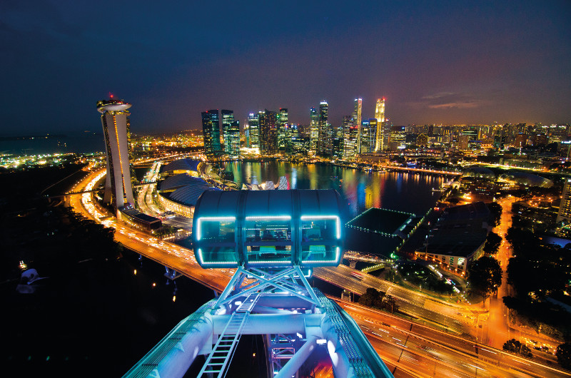 A view over one of the capsules of the Singapore Flyer ferris wheel