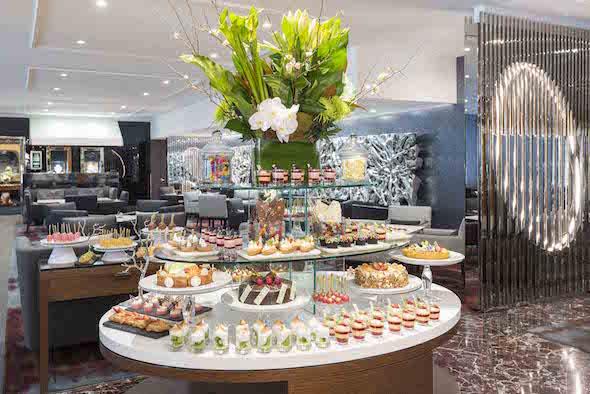 A buffet-style high tea layout