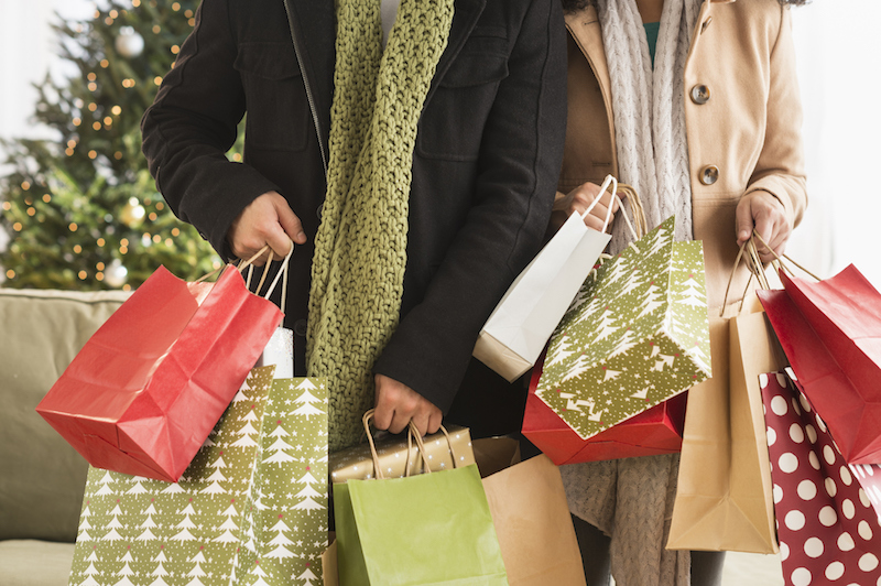 Couple with Christmas shopping bags