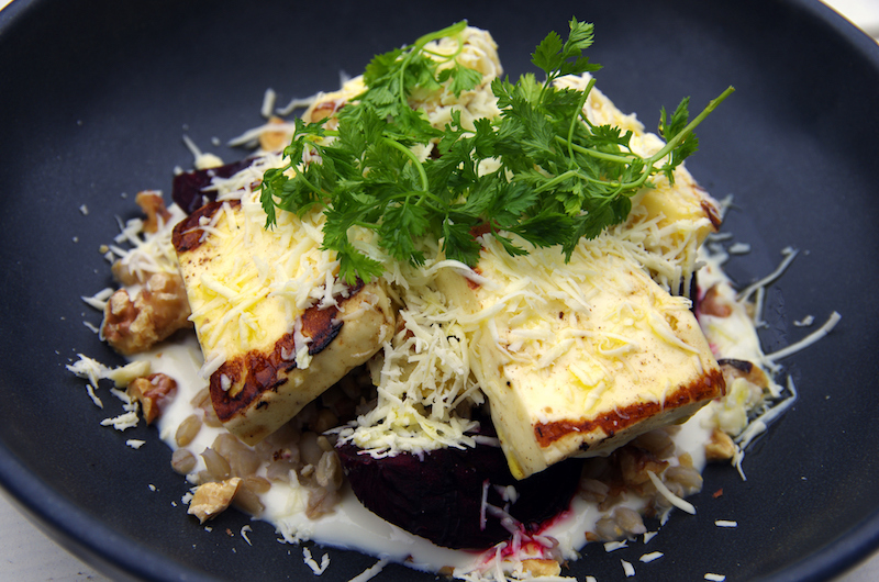 Beetroot and haloumi salad