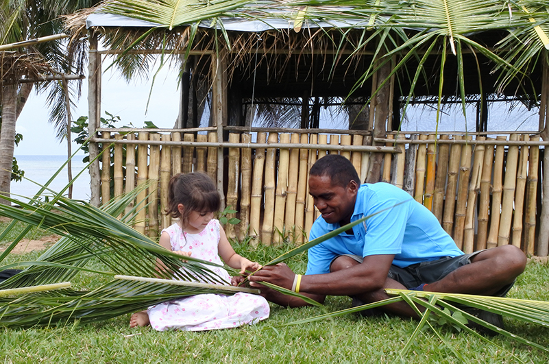 Basketweaving demonstration in Fiji