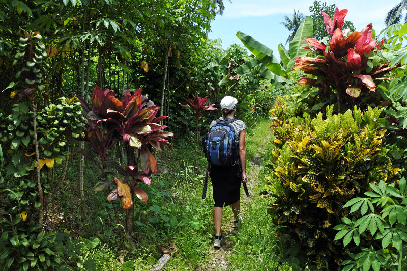 A woman sets off for a jungle trek in Fiji.