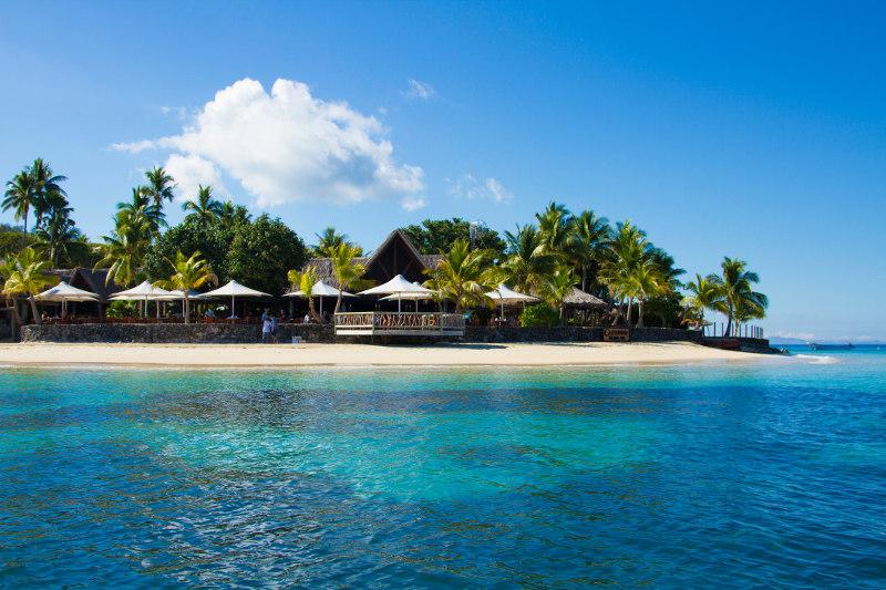 A Fiji resort by the beach.