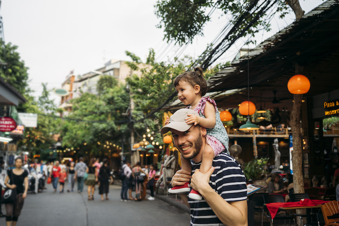 father and daughter explore Khao San Road