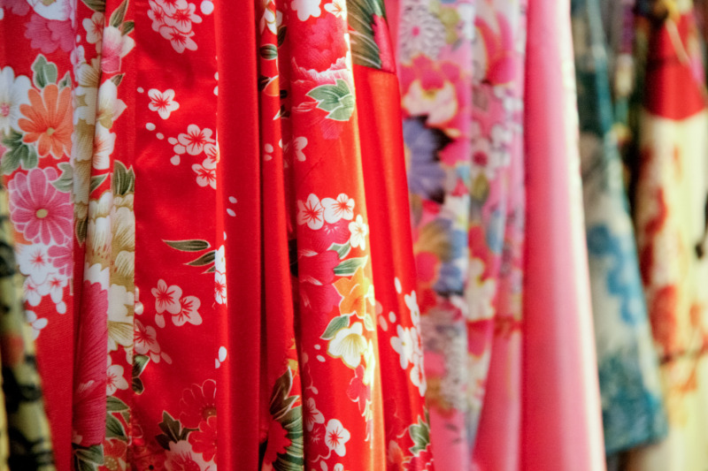 Chinese silk fabric at market