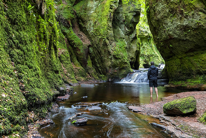 Finnich Glen Canyon in Trossachs National Park scotland